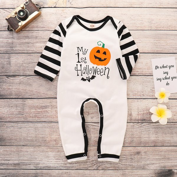 2018 whosale unisex boys girls halloween pumpkin print bodysuit infant toddlers stripe long sleeve one-piece jumpsuit