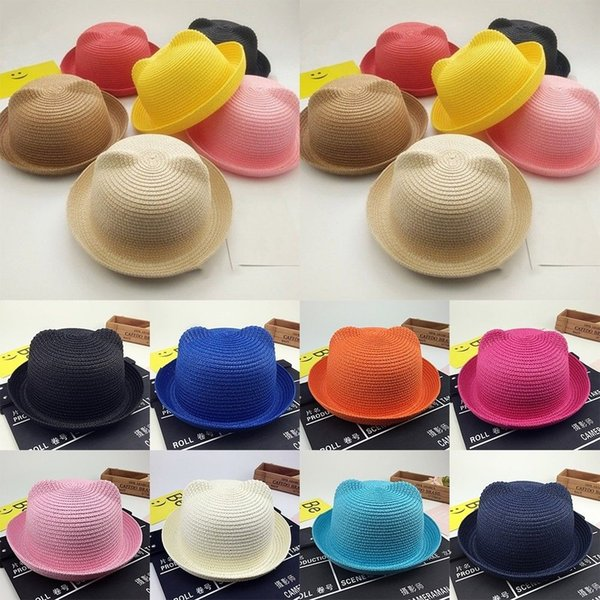c0f8ffef New Baby Straw Hat Summer Kids Cat Ear Decoration Lovely Beach Cap Children  Character Girls Boys