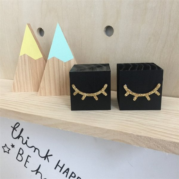 Wholesale Nordic Wooden Gold Flash Eyelash Building Blocks Ornament Nursery Decor Christmas Children Gifts Gifts For Funny People Gifts For Men From