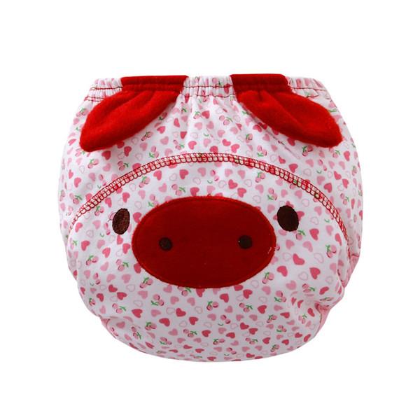 Reusable Animal Cartoon Cute Piggy Baby Ruffle Panties Briefs Diaper Cover Pants Elastic Waist Kids Cloth Diaper Newborn Baby