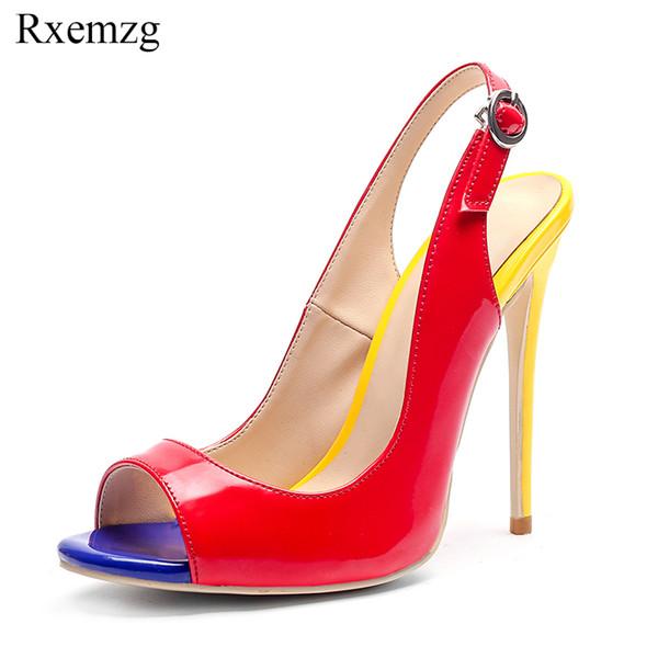 Toptan artı boyutu 34-43 karışık renk moda peep toe yaz ayakkabı kadınlar seksi ince yüksek topuklu 12 cm toka kayış kadın sandalet kırmızı