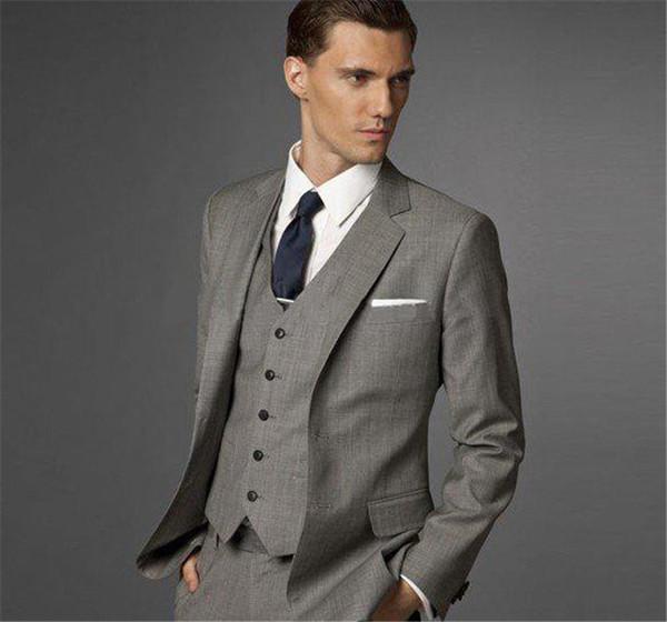 Traje de negocios de hombre Slim fit Clásico Trajes masculinos Blazers Traje de lujo Hombres dos botones 3 piezas (traje chaqueta + pantalones + chaleco)