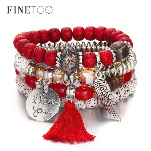 Bohemian Multi Layer Crystal Natural Stone Beads Red Bracelet Vintage Tassel Angel Wings Bracelets for Women Bijoux Femme