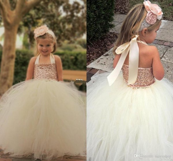 Cute Ivory Flower Girl Dresses 2018 Bling Rose Gold Sequin Halter Tutu Floor Length Ball Gown Cheap Custom Made Little Girls Pageant Dresses