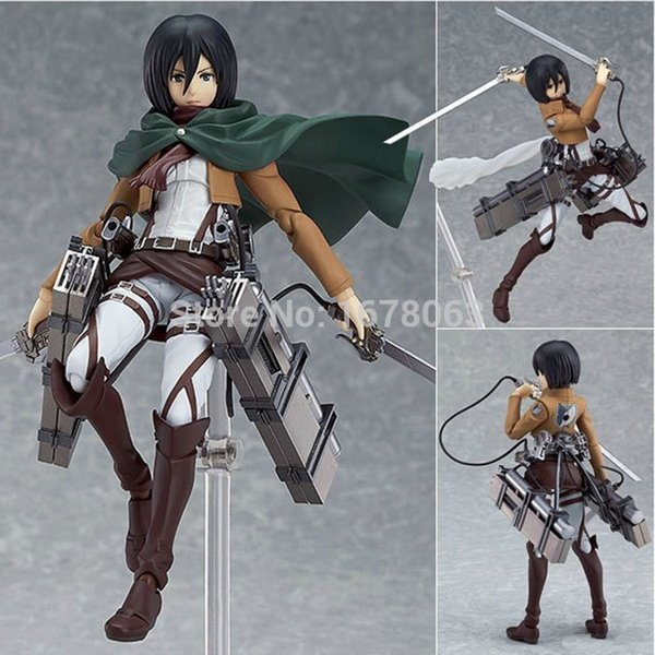 15cm 6 pollici Giapponese Attack Anime su Titano Figma n. 203 a Mikasa Ackerman Action PVC Figure Gift Model Toy Electronic Pets