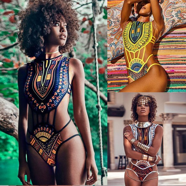 Frauen African Print Bikini Set Bademode Push-Up gepolsterter BH Badeanzug Beachwear Lady Print Vintage ethnischen Bikini