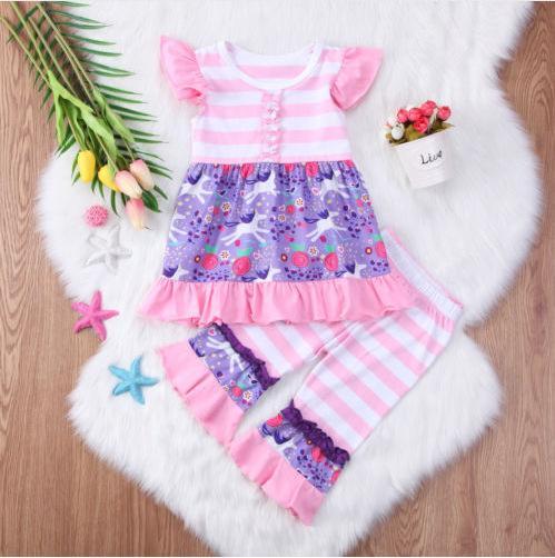 Bebê floral impresso roupas rosa folha de lótus Listrado Top de Manga Curta + Calça de Duas peças conjunto bonito da menina do bebê roupas H068