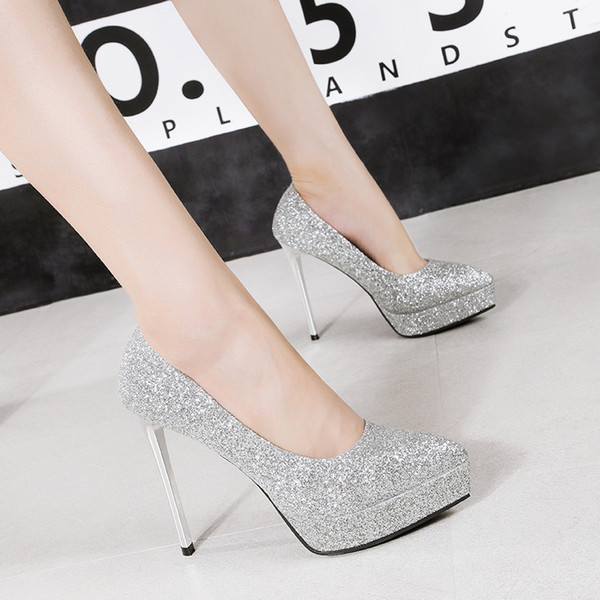 Fashion 6 colors sexy sequins wedding shoes waterproof platform nightclub pointed toe stiletto heel dress shoes pumps for women 2759-13