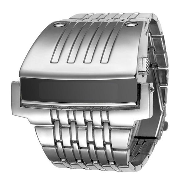 Neue hochwertige luxusuhr elektronische uhren voll edelstahl männer armbanduhr militär sportuhren mode led iron man watch kostenlos