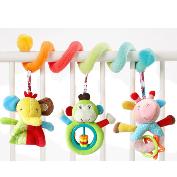 Wholesale- Baby Rattle Toys Stoller&Bed Hanging Toys Crib Newborn Gifts Baby Bed Bells Plush Appease Doll Brinquedos Para Bebe