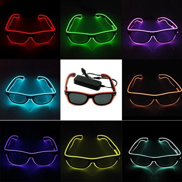 LED Party Glasses EL Wire Fluorescent Glass 10 Colors Halloween Xmas Birthday Party Bar Decorative Luminous Neon Glasses NNA856