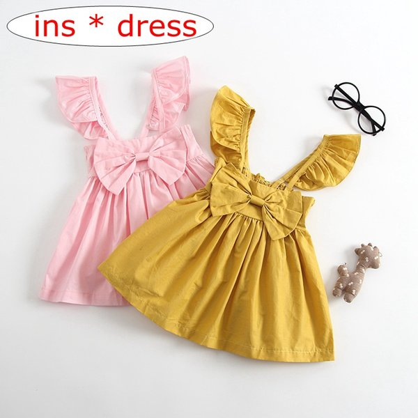 INS Summer fashion yellow pink big Bow NewBorn Baby vest backless Dress 0-24M baby girls Clothes cotton cute girls dress 0-3Years free ship