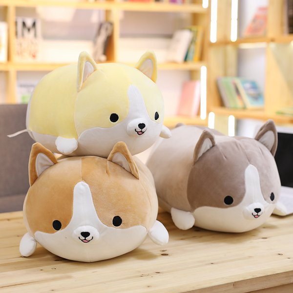 30/45/60cm Cute Corgi Dog Plush Toy Stuffed Soft Animal Cartoon Pillow Lovely Christmas Gift for Kids Kawaii Valentine Present Y18100904