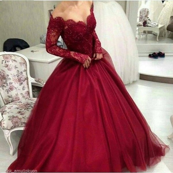 Red Scoop Long Sleeve Ball Gown Lace Formal Evening Dresses Women's Fashion Bridal Special Occasion Prom Bridesmaid Party Dress 17LF559