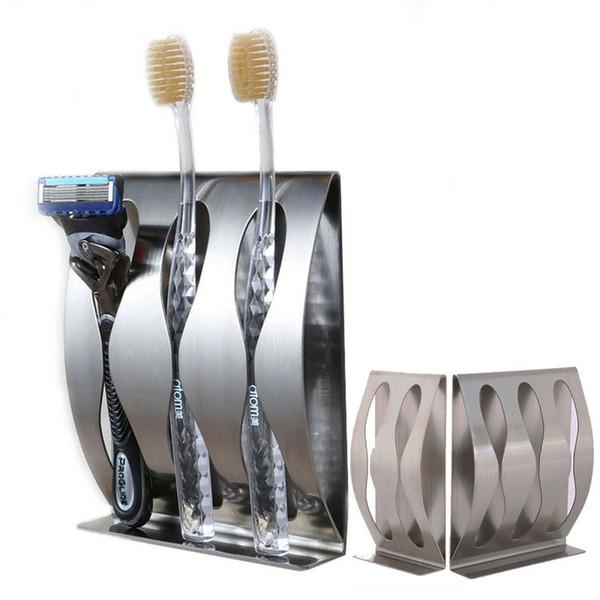 Nouveau mode en acier inoxydable à trois positions deux positions porte-brosse à dents auto-adhésif accessoires de salle de bains Prix direct d'usine