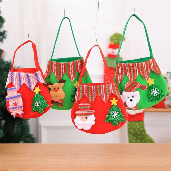 Bolso de la decoración de la Navidad Muñeco de nieve Cerveza Santa Claus Print Gift Bag Candy Apple Lovely Bolsas para niños Tela Art 3gf jj