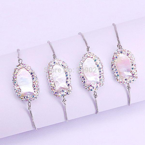 wholesale new charm 10Pcs Pave Rhinestone Nature Fresh Water Pearls Bracelet Silver Chain Bracelets Adjustable Jewelry