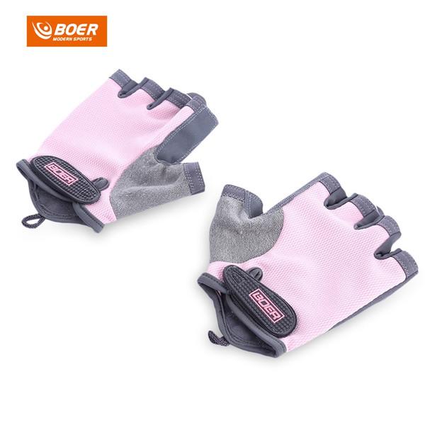 BOER Paar Bodybuilding Fitness Gewichtheben Halbe Fingerhandschuhe für Frauen mode neopren pool halb finger handschuhe für frauen Rosa farbe
