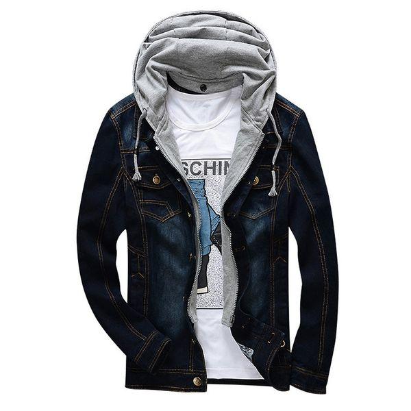 Autumn men's denim jacket thin young cotton can take off the hat denim jacket slim style pure color men's coat