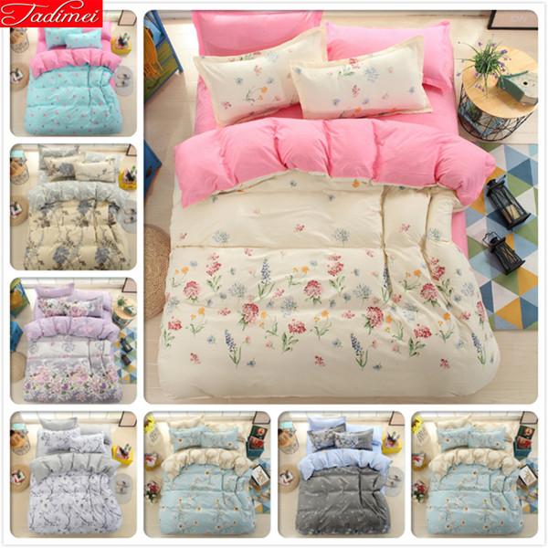 Patrón floral AB funda nórdica lateral 3/4 piezas Juego de cama individual doble reina Queen edredón tamaño funda de almohada sábanas de algodón