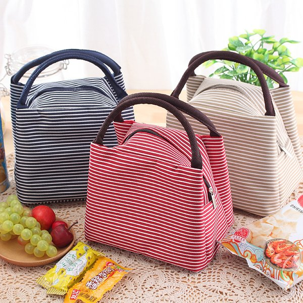 Portable Lunch Bag Canvas Stripe Insulated Cooler Bags Thermal Food Picnic Lunch Bags Kids Lunch Box Bag Tote