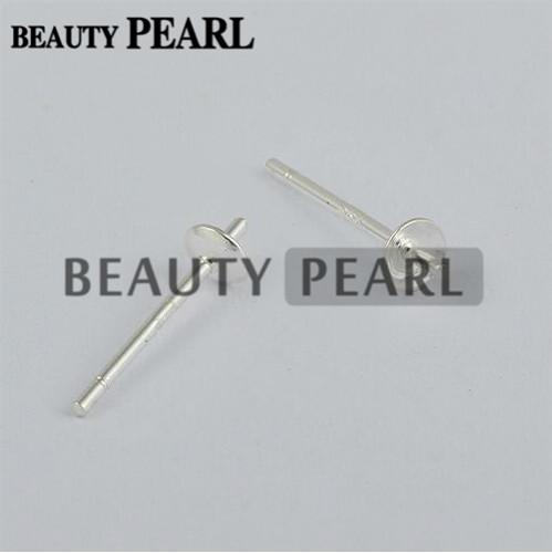 100 Pairs Wholesale 925 Sterling Silver Pearl DIY Stud Earring Mounting Post Pin with Cup Cap 3mm or 4mm