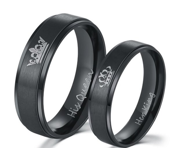 2018 New Fashion DIY Couple Jewelry rings Black plated color 316L stainless steel HIS QUEEN and HER KING couple rings for lovers