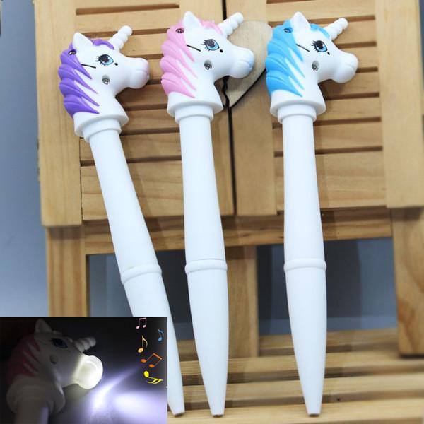top popular New Cute Unicorn Pen Mini Unicorn FigureTorch Pen with LED Light Sound Novelty Present for Kids Drop Shipping 2019