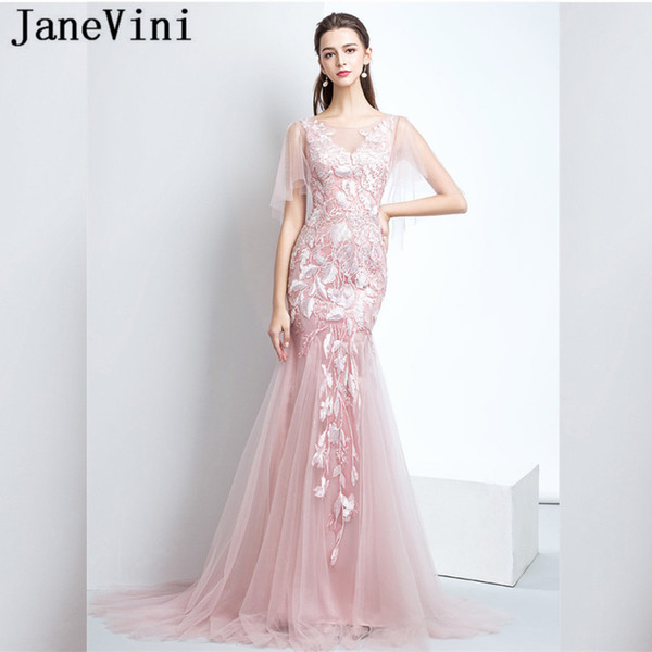 JaneVini Pink Mermaid Women Prom Dresses 2018 Jurk Lang Tulle Lace Sexy Long Prom Formal Gowns Fancy Sweep Train Evening Party Dresses