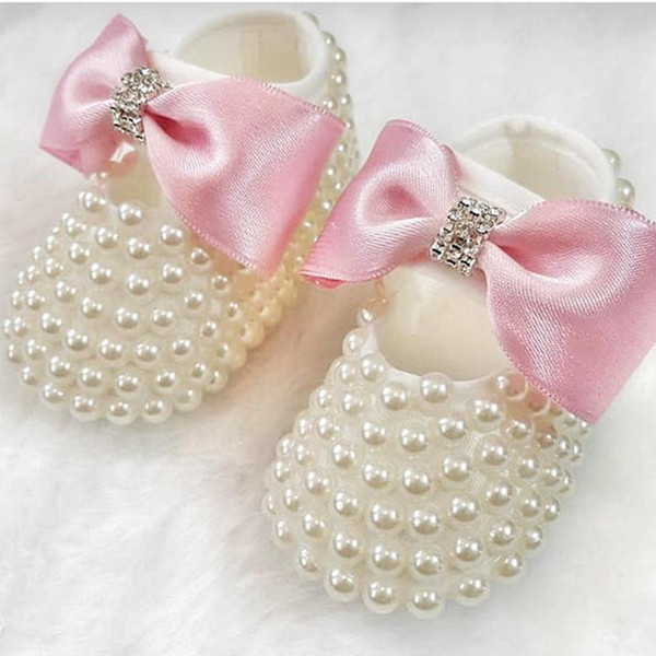 free shipping princess rhinestone pearl baby Shoes handmade baby toddler  bling shoes lovely fashion girl accesso a3f9a7276863