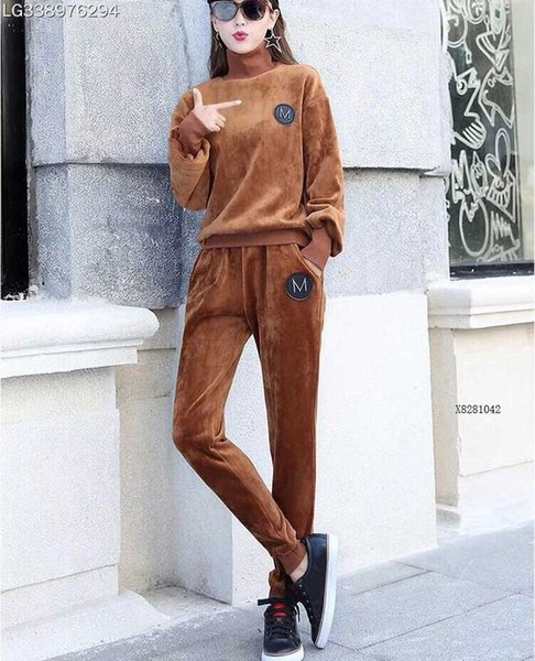 2018 best selling wholesale fashion women Casual pullover tracksuits high neckline long sleeves velvet clothing high quality C