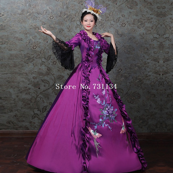 Marie Antoinette Masquerade Dress 18th Century Gown Purple Carnivale Party Gown