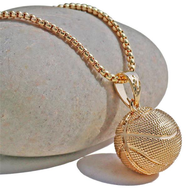 Baloncesto Colgante Collar de Oro de Acero Inoxidable Collar de Cadena Mujeres Hombres Deporte Hip Hop Joyería Baloncesto Fútbol Amantes de Regalo