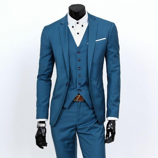 Slim Fit 3-teiliger Herrenanzug, bestehend aus Jacke, Weste und Hose. Elegant, erhältlich in einer Vielzahl von Uni-Farben S 3XL