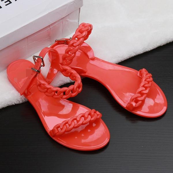 Avrupa ve Amerika Birleşik Devletleri yeni plastik zincir plaj ayakkabı şeker renk jöle sandalet zincir düz dipli sandalet ücretsiz DHL