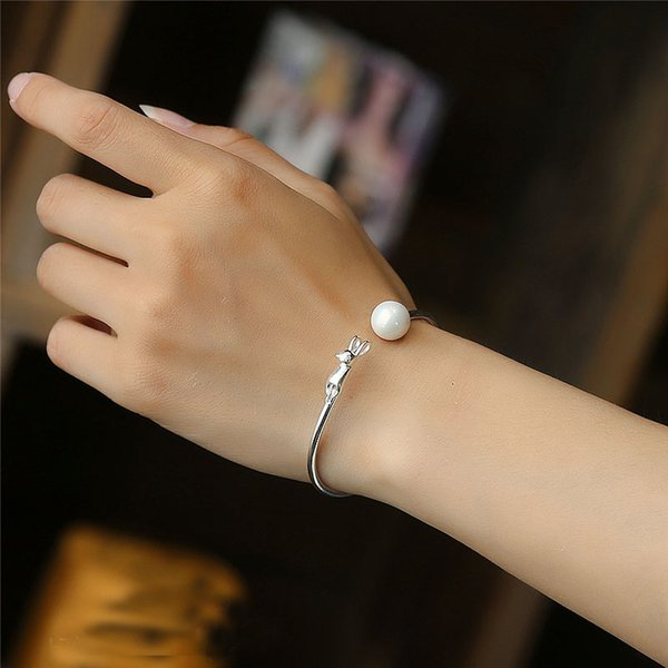 Fashion 925 Sterling Silver Cuff Bangle Bracelet Fill Open Women Cuff Bangle Cute Cat With Pealr Charm Bracelet For Engagement Lover Women's