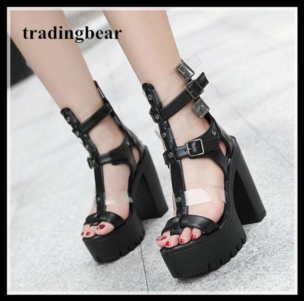 chic ladies black T strappy platform thick high heel gladiator sandals 2018 size 34 to 39