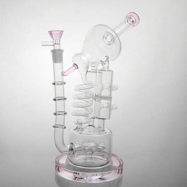 Bong Dab Rig Pink Glass Bongs de agua Bubbler Recyclerglass Pipas de agua de alta calidad Big Bong envío gratis