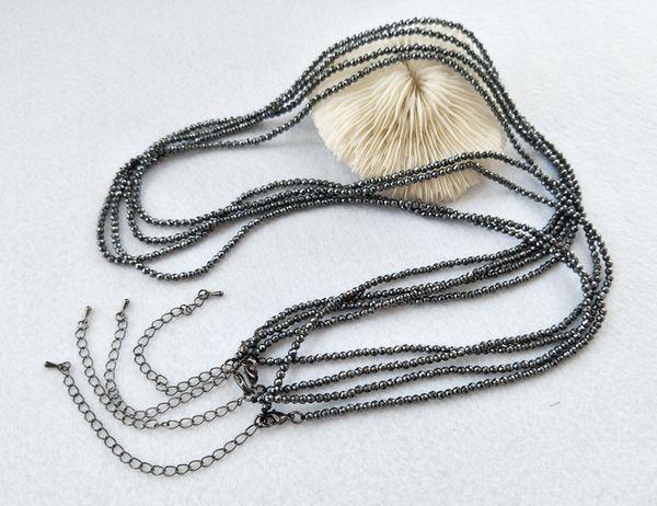 10 vertentes 3mm contas de hematita preto longo colar de cadeia diy fazendo colar mulheres jóias encontrar pd109