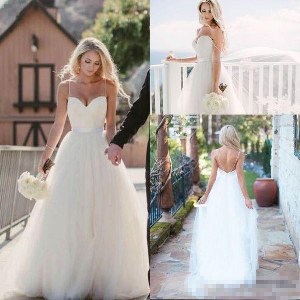 Vintage Ivory Spaghetti Straps Tulle Sweetheart Neckline Long Wedding Dresses 2018 Floor Length Backless Beach Bridal Gowns