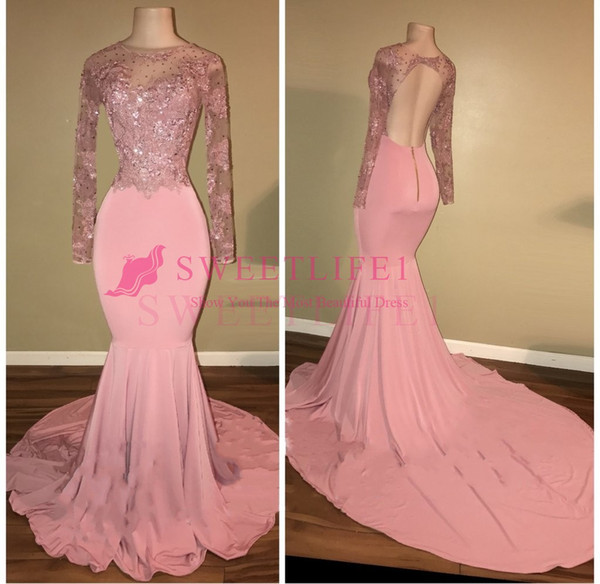 2019 Pink Backless Prom Dresses Long Sleeve Sheer Jewel Neck Lace Appliques Mermaid Formal Evening Occasion Gown Custom Made