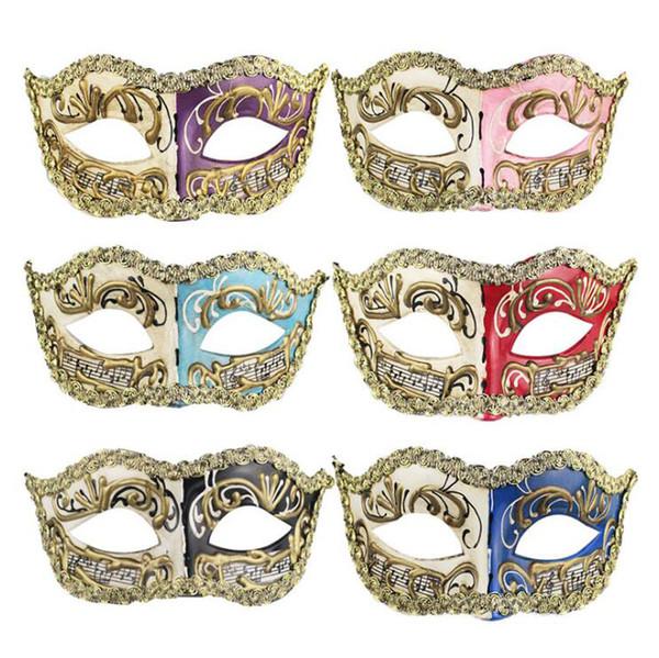 Erkekler Kadınlar El Yapımı Notlar Masquerade Yüz Maskeleri Cadılar Bayramı Partisi Karnaval Yüz Maskeleri Doğum Günü Mezuniyet Partisi Iki Renk Maskeleri