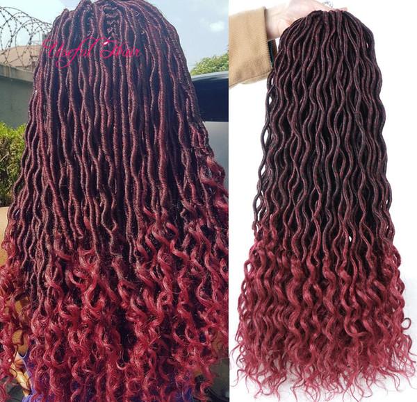 best selling 18inch Crochet Goddess Locs synthetic Hair Extensions Faux Locs Curly Crochet Braids Ombre Kanekalon Braiding Hair Bohemian locks MARLEY