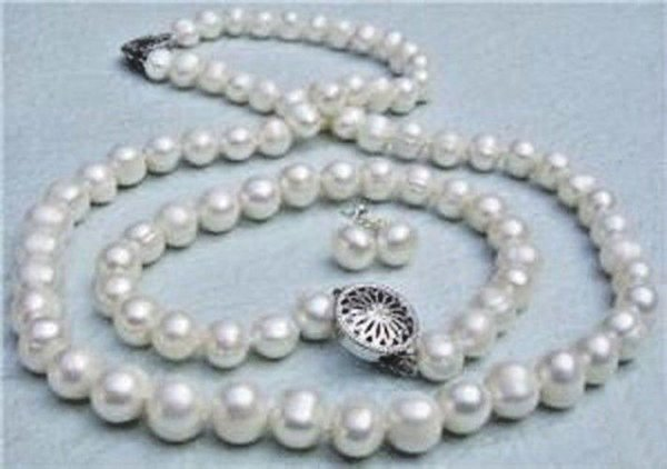 Details about 8-9mm Genuine White Akoya Cultured Pearl necklace bracelet Earrings set