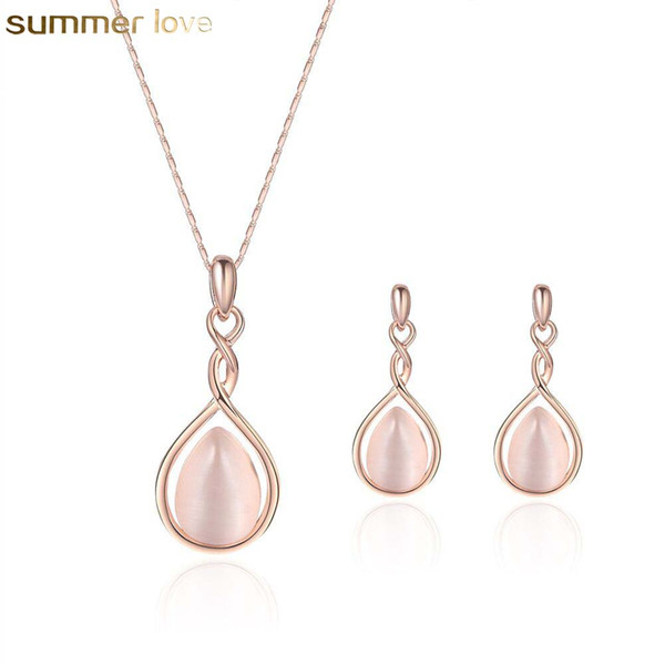 best selling Hot Selling Pink Opal Necklaces Earrings Set Natural Gem Stone Water Drop Necklace Earring for Wedding Women Girls