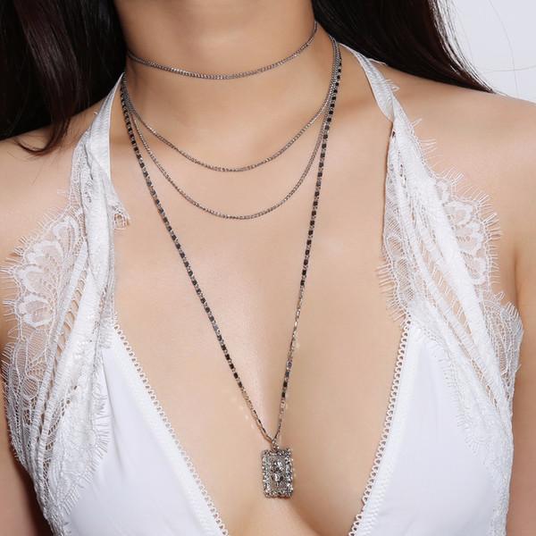 2018 Multi Capas Gargantilla Rectángulo de Rose Flor Colgante, Collar de Los Encantos Para Las Mujeres Cadenas de Clavícula Moda Bar Joyería Europea Al Por Mayor