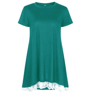 2018 Spring New Women Casual Short Sleeve Long T-Shirt Solid Color O Neck High Quality Female Lace Design T-Shirt
