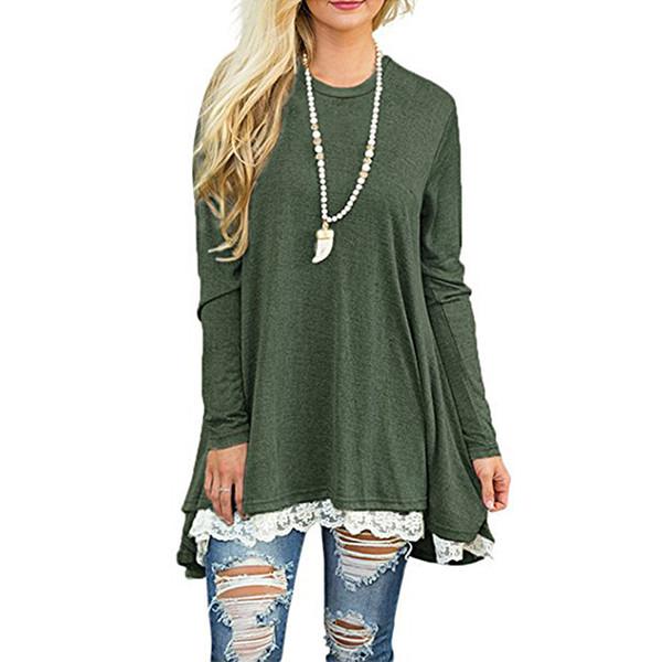 Anself 2018 Bahar Sonbahar Yeni Rahat Kadın T-shirt Kısa Kollu O-Boyun Uzun Tshirt Kadın Giyim Dantel Splice Hem Tops