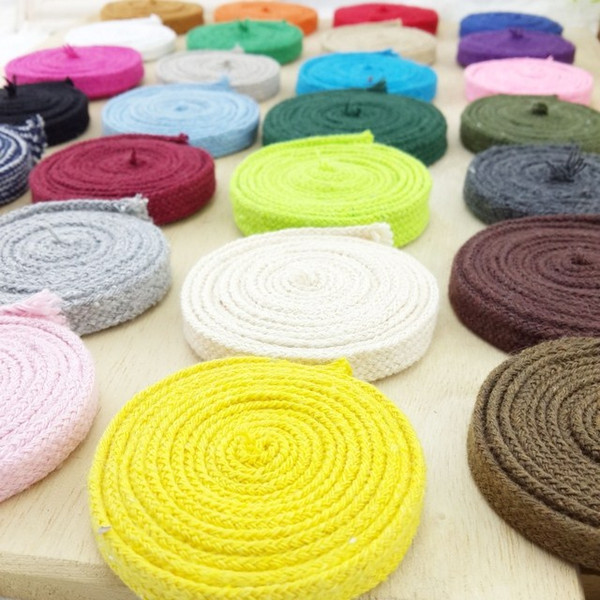 10mm 50 mètres / lot Couleur de cordon Corde en coton tressé Corde en coton doux pour poignée de sac Chaussures de vêtement