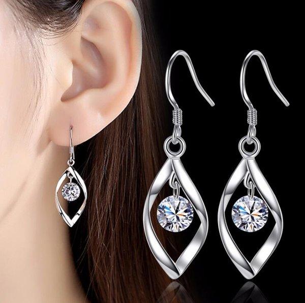 Elegant Fashion 925 Sterling Silver Tassel Earrings Women Crystal Rhinestone Ear Stud Earrings Rotate Silver Zircon Earring Jewelry